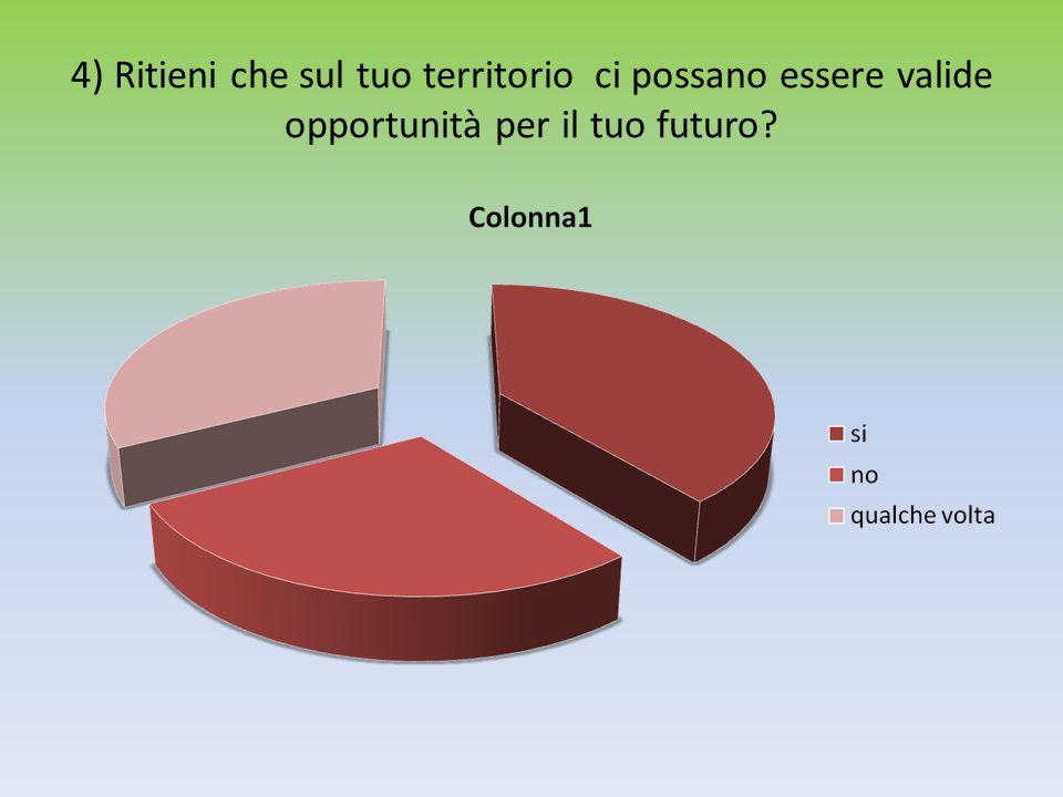 4) Ritieni che sul tuo territorio ci possano essere valide opportunità per il tuo futuro?