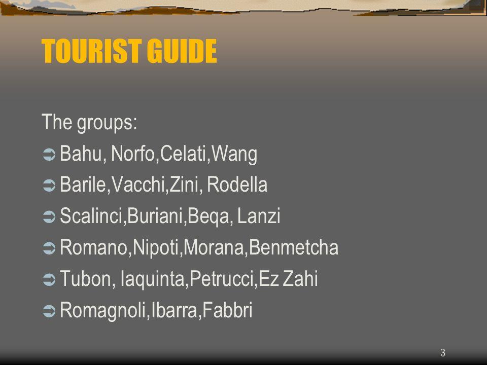 3 TOURIST GUIDE The groups: Bahu, Norfo,Celati,Wang Barile,Vacchi,Zini, Rodella Scalinci,Buriani,Beqa, Lanzi Romano,Nipoti,Morana,Benmetcha Tubon, Iaquinta,Petrucci,Ez Zahi Romagnoli,Ibarra,Fabbri