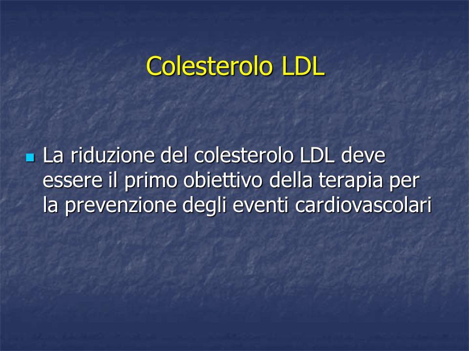 Colesterolo LDL La riduzione del colesterolo LDL deve essere il primo obiettivo della terapia per la prevenzione degli eventi cardiovascolari La riduz