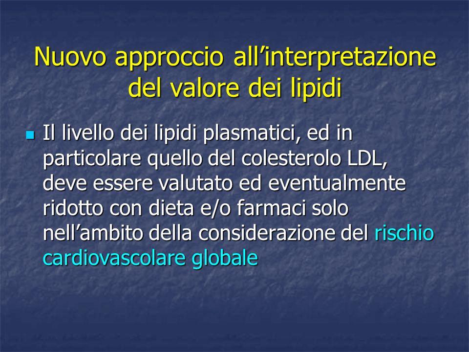 Nuovo approccio allinterpretazione del valore dei lipidi Il livello dei lipidi plasmatici, ed in particolare quello del colesterolo LDL, deve essere v