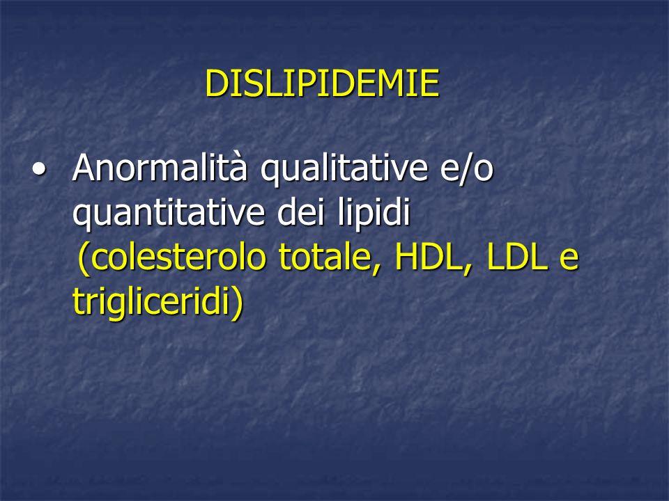 DISLIPIDEMIE Anormalità qualitative e/o quantitative dei lipidiAnormalità qualitative e/o quantitative dei lipidi (colesterolo totale, HDL, LDL e trig