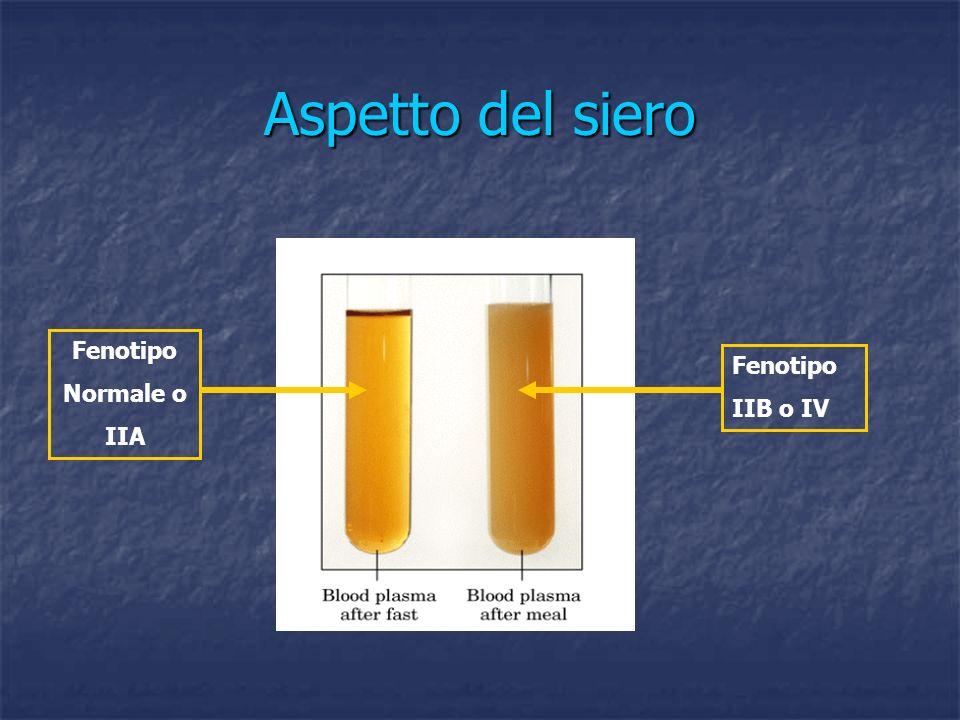 Aspetto del siero Fenotipo Normale o IIA Fenotipo IIB o IV