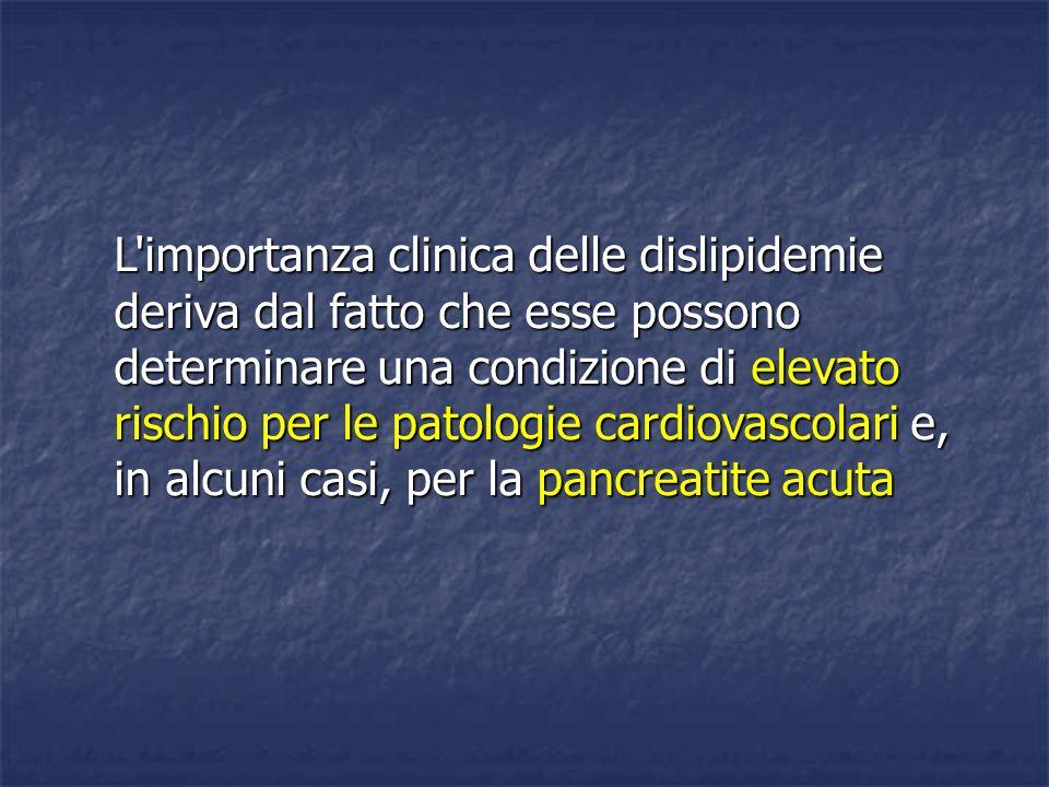 L'importanza clinica delle dislipidemie deriva dal fatto che esse possono determinare una condizione di elevato rischio per le patologie cardiovascola