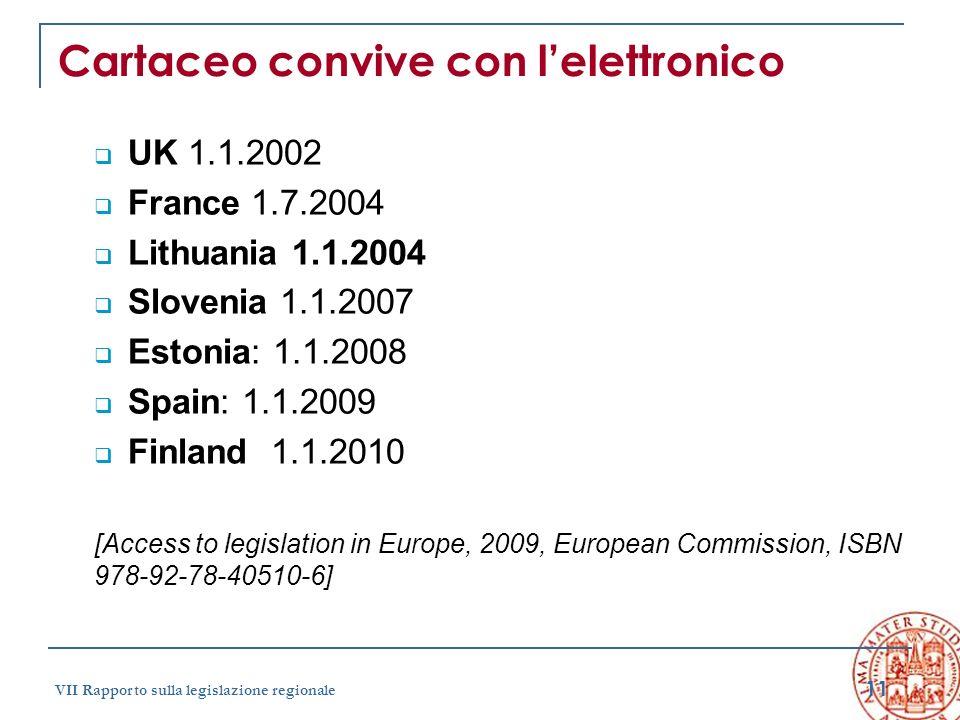 11 VII Rapporto sulla legislazione regionale Cartaceo convive con lelettronico UK 1.1.2002 France 1.7.2004 Lithuania 1.1.2004 Slovenia 1.1.2007 Estoni
