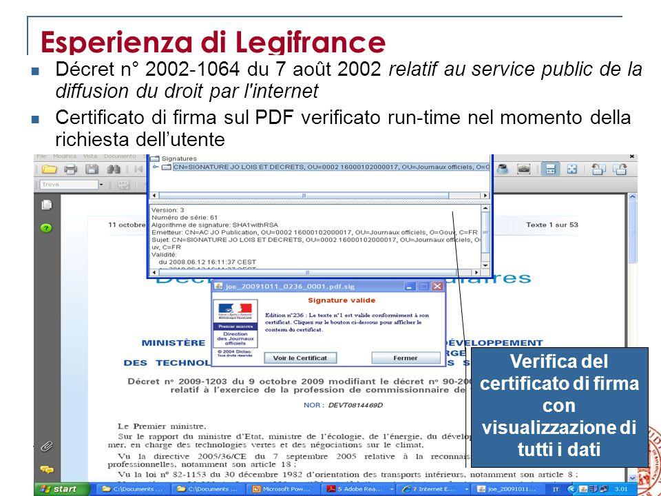 12 VII Rapporto sulla legislazione regionale Esperienza di Legifrance Décret n° 2002-1064 du 7 août 2002 relatif au service public de la diffusion du