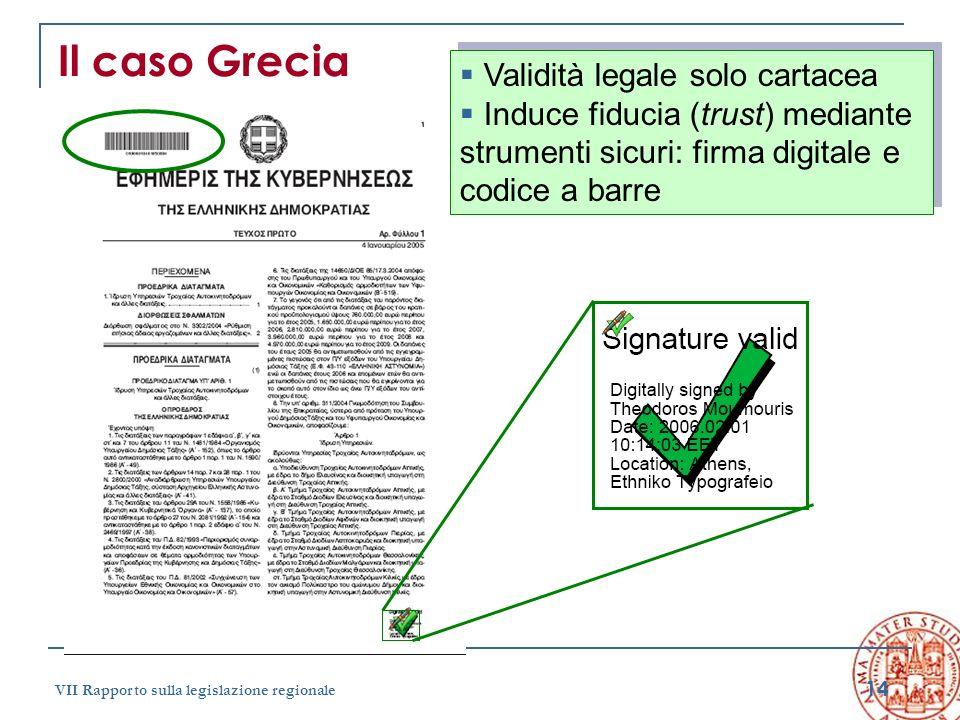 14 VII Rapporto sulla legislazione regionale Il caso Grecia Validità legale solo cartacea Induce fiducia (trust) mediante strumenti sicuri: firma digi