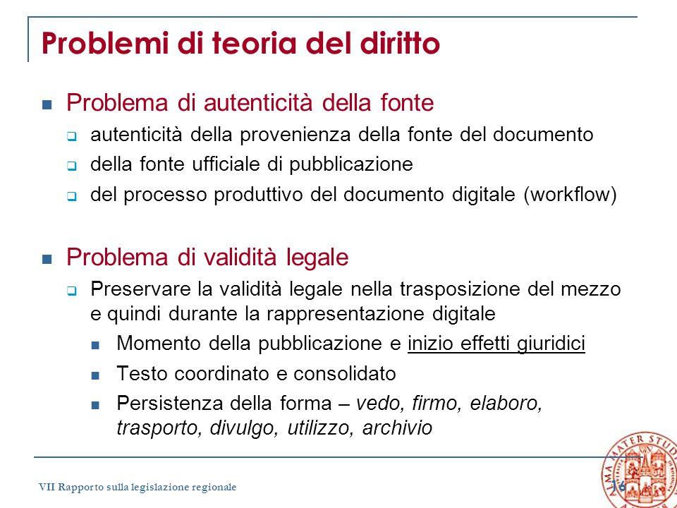 16 VII Rapporto sulla legislazione regionale Problemi di teoria del diritto Problema di autenticità della fonte autenticità della provenienza della fo