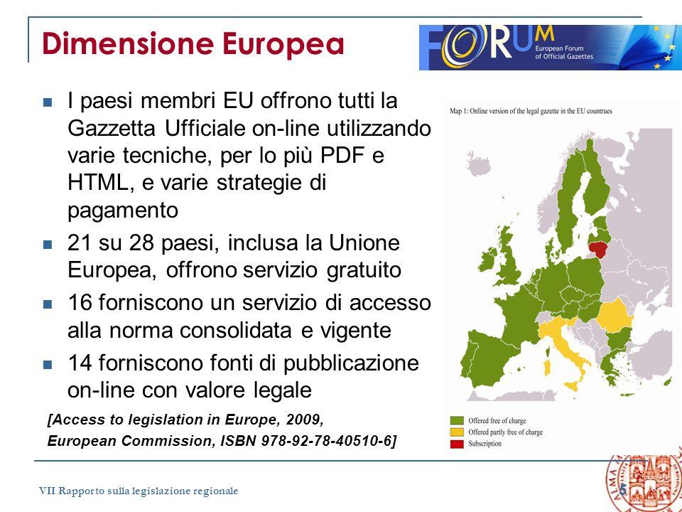 5 VII Rapporto sulla legislazione regionale Dimensione Europea I paesi membri EU offrono tutti la Gazzetta Ufficiale on-line utilizzando varie tecnich