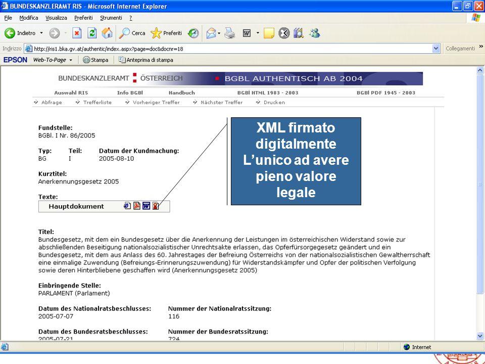 9 VII Rapporto sulla legislazione regionale XML firmato digitalmente Lunico ad avere pieno valore legale