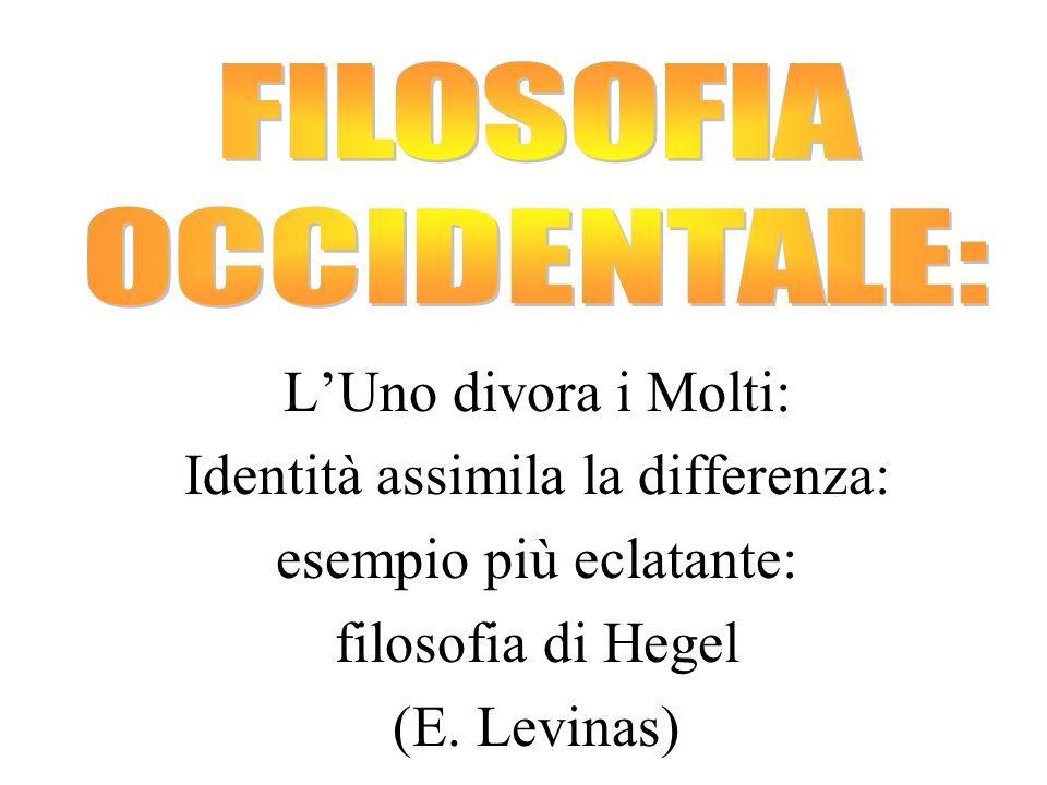 LUno divora i Molti: Identità assimila la differenza: esempio più eclatante: filosofia di Hegel (E. Levinas)