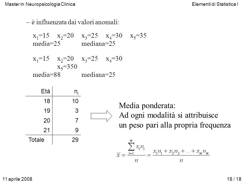 Master in Neuropsicologia ClinicaElementi di Statistica I 11 aprile 200816 / 18 x 1 =15x 2 =20x 3 =25x 4 =30 x 5 =350 media=88mediana=25 è influenzata