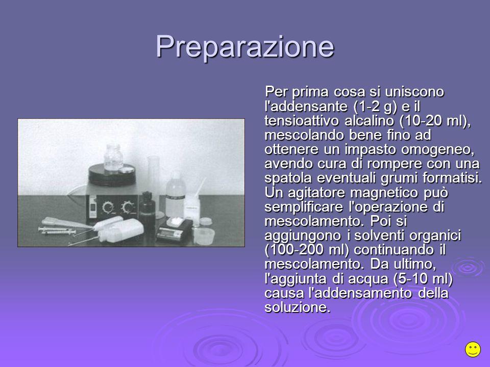 Preparazione Per prima cosa si uniscono l addensante (1-2 g) e il tensioattivo alcalino (10-20 ml), mescolando bene fino ad ottenere un impasto omogeneo, avendo cura di rompere con una spatola eventuali grumi formatisi.