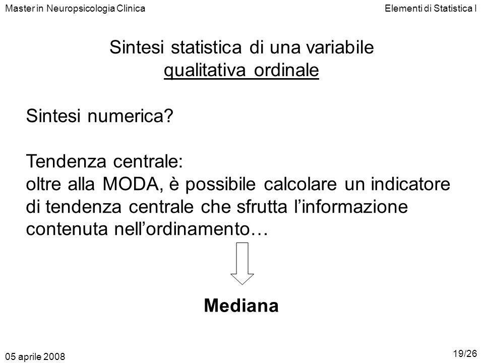 Elementi di Statistica IMaster in Neuropsicologia Clinica Sintesi statistica di una variabile qualitativa ordinale Sintesi numerica? Tendenza centrale