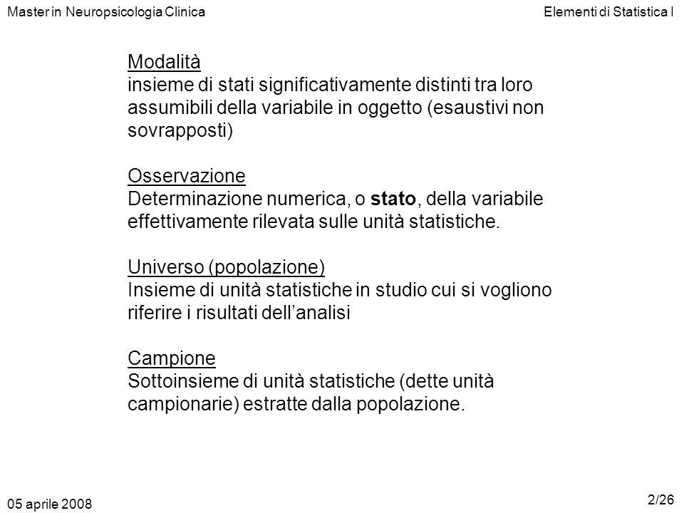 Elementi di Statistica IMaster in Neuropsicologia Clinica In pratica: Si ordina la sequenza Se n è dispari: lunità centrale è quella che occupa la POSIZIONE (n+1)/2 nella sequenza ordinata Se n è pari: le unità centrali sono due e occupano le POSIZIONI n/2 e n/2+1 nella sequenza ordinata La mediana sarà la modalità che caratterizza lunità (o le unità) centrale(/i) 05 aprile 2008 23/26