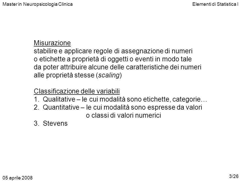 Elementi di Statistica I Misurazione stabilire e applicare regole di assegnazione di numeri o etichette a proprietà di oggetti o eventi in modo tale d