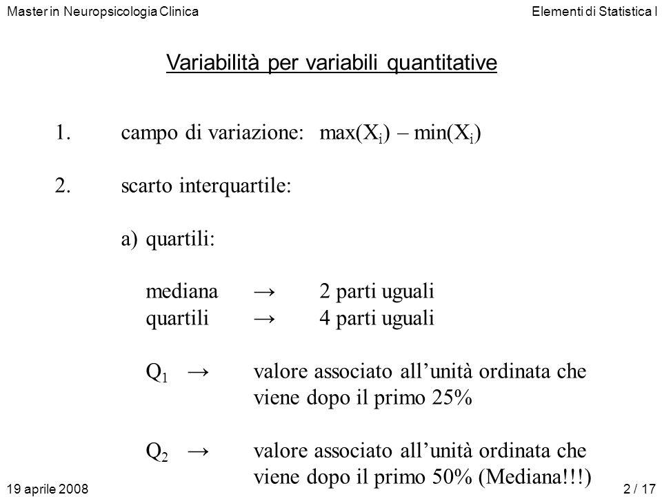 Master in Neuropsicologia ClinicaElementi di Statistica I 19 aprile 20082 / 17 Variabilità per variabili quantitative 1.campo di variazione:max(X i ) – min(X i ) 2.scarto interquartile: a)quartili: mediana 2 parti uguali quartili4 parti uguali Q 1valore associato allunità ordinata che viene dopo il primo 25% Q 2valore associato allunità ordinata che viene dopo il primo 50% (Mediana!!!)