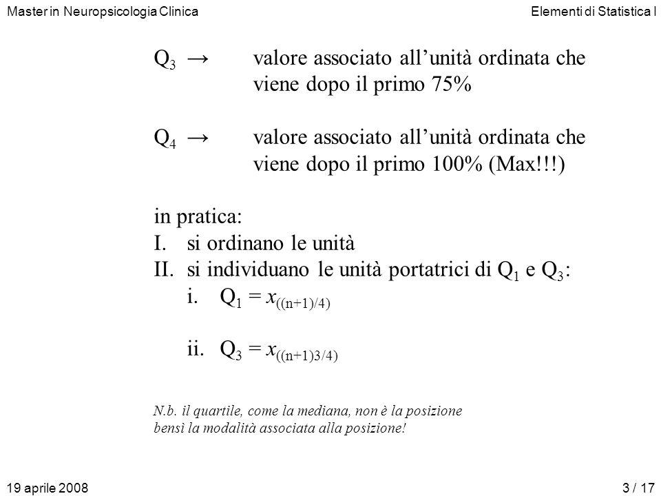 Master in Neuropsicologia ClinicaElementi di Statistica I 19 aprile 20083 / 17 Q 3valore associato allunità ordinata che viene dopo il primo 75% Q 4valore associato allunità ordinata che viene dopo il primo 100% (Max!!!) in pratica: I.si ordinano le unità II.si individuano le unità portatrici di Q 1 e Q 3 : i.Q 1 = x ((n+1)/4) ii.Q 3 = x ((n+1)3/4) N.b.
