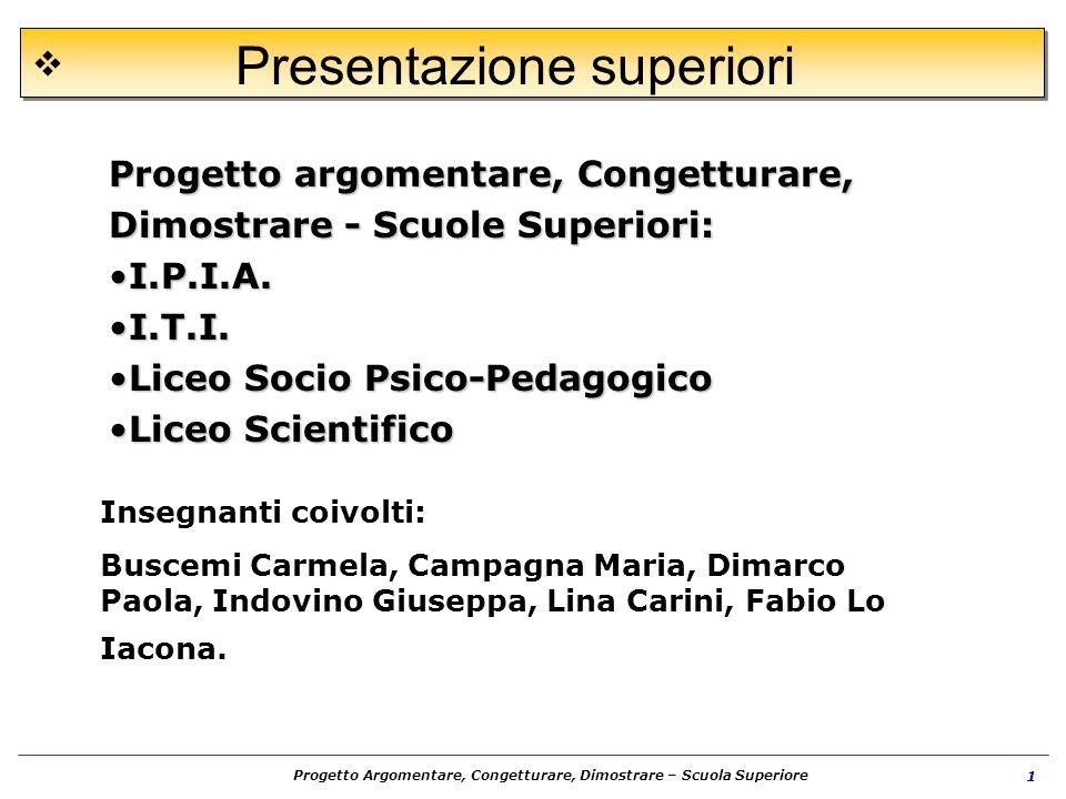 Progetto Argomentare, Congetturare, Dimostrare – Scuola Superiore 1 Progetto argomentare, Congetturare, Dimostrare - Scuole Superiori: I.P.I.A.I.P.I.A
