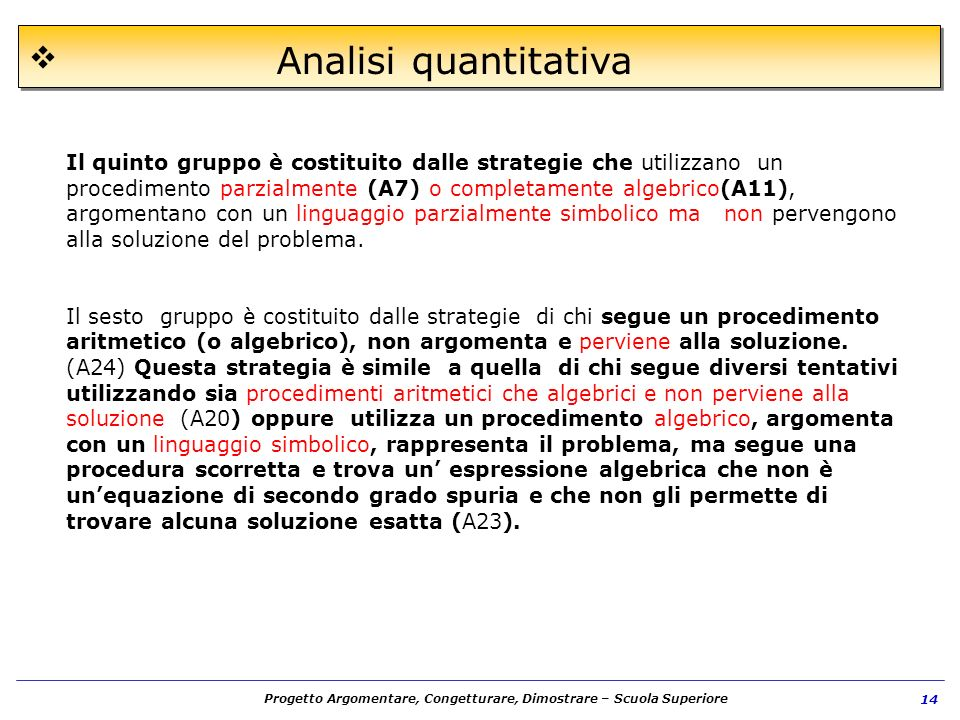 Progetto Argomentare, Congetturare, Dimostrare – Scuola Superiore 14 Analisi quantitativa Il quinto gruppo è costituito dalle strategie che utilizzano
