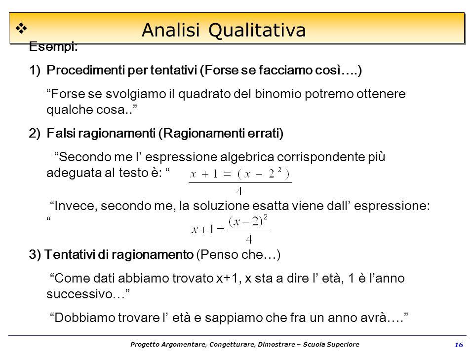 Progetto Argomentare, Congetturare, Dimostrare – Scuola Superiore 16 Analisi Qualitativa Esempi: 1)Procedimenti per tentativi (Forse se facciamo così…
