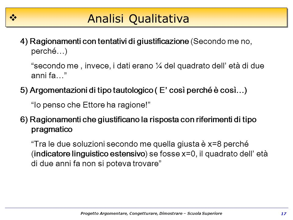 Progetto Argomentare, Congetturare, Dimostrare – Scuola Superiore 17 Analisi Qualitativa 4) Ragionamenti con tentativi di giustificazione (Secondo me