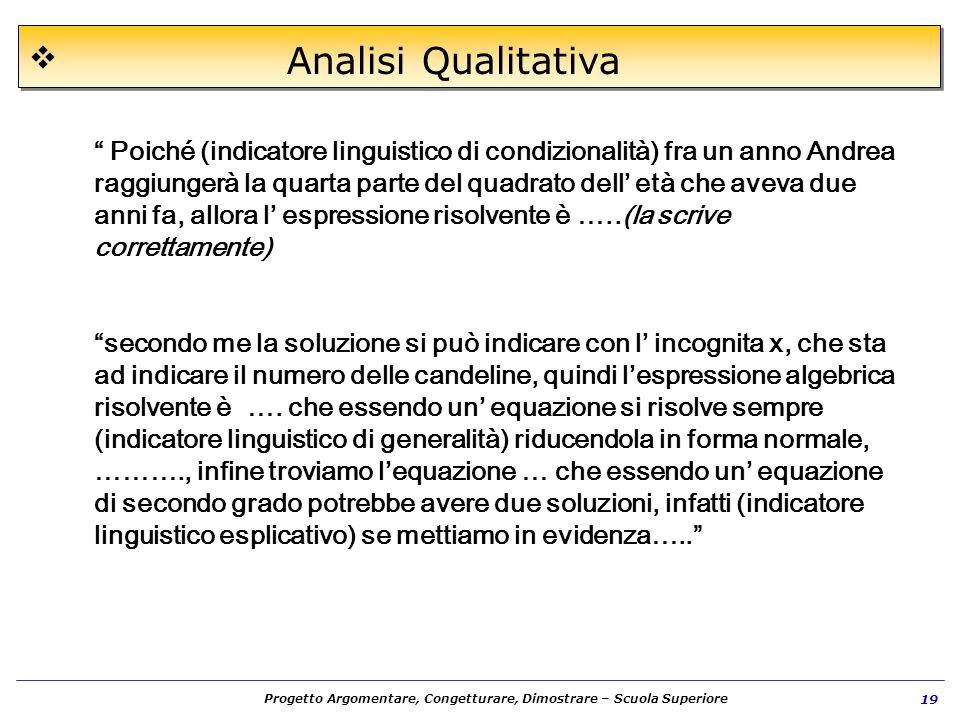 Progetto Argomentare, Congetturare, Dimostrare – Scuola Superiore 19 Analisi Qualitativa Poiché (indicatore linguistico di condizionalità) fra un anno