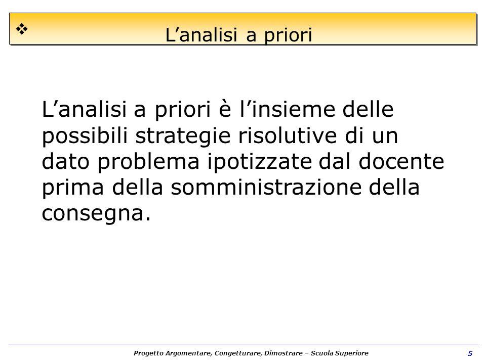 Progetto Argomentare, Congetturare, Dimostrare – Scuola Superiore 5 Lanalisi a priori Lanalisi a priori è linsieme delle possibili strategie risolutiv
