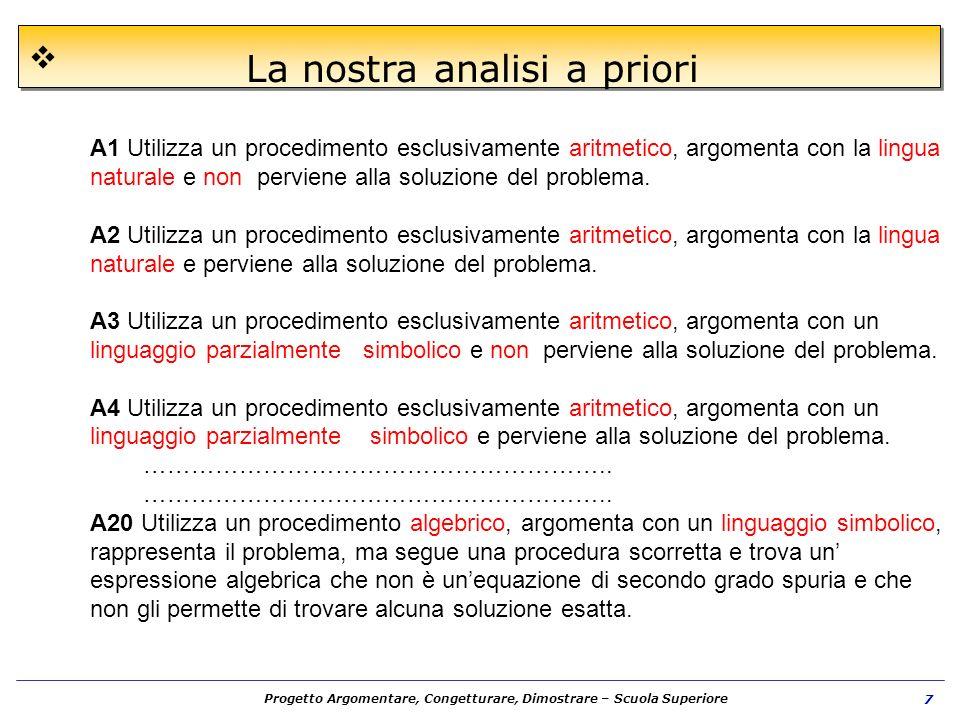 Progetto Argomentare, Congetturare, Dimostrare – Scuola Superiore 7 La nostra analisi a priori A1 Utilizza un procedimento esclusivamente aritmetico,