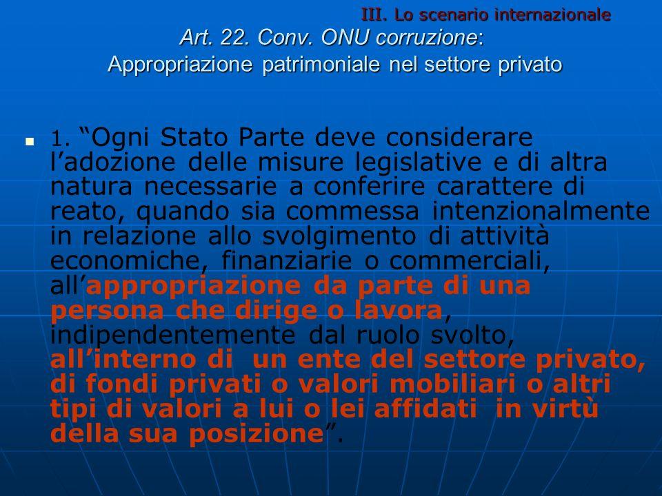 Art. 22. Conv. ONU corruzione: Appropriazione patrimoniale nel settore privato 1. Ogni Stato Parte deve considerare ladozione delle misure legislative