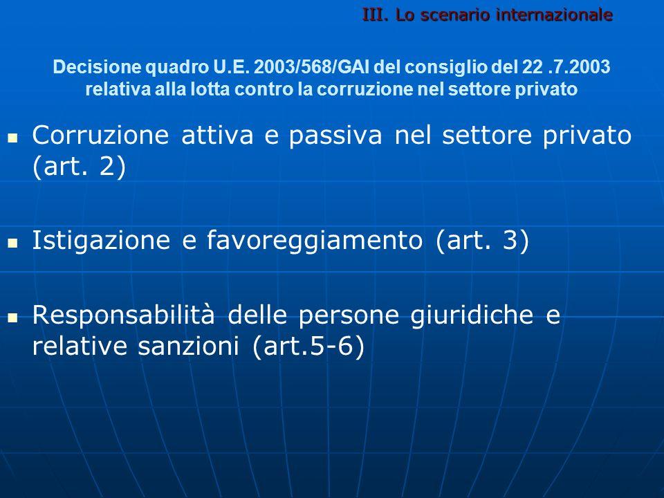 Decisione quadro U.E. 2003/568/GAI del consiglio del 22.7.2003 relativa alla lotta contro la corruzione nel settore privato Corruzione attiva e passiv