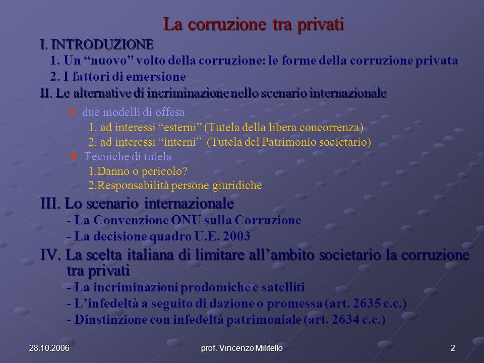 IV.La scelta italiana di limitare la corruzione tra privati allambito societario B.
