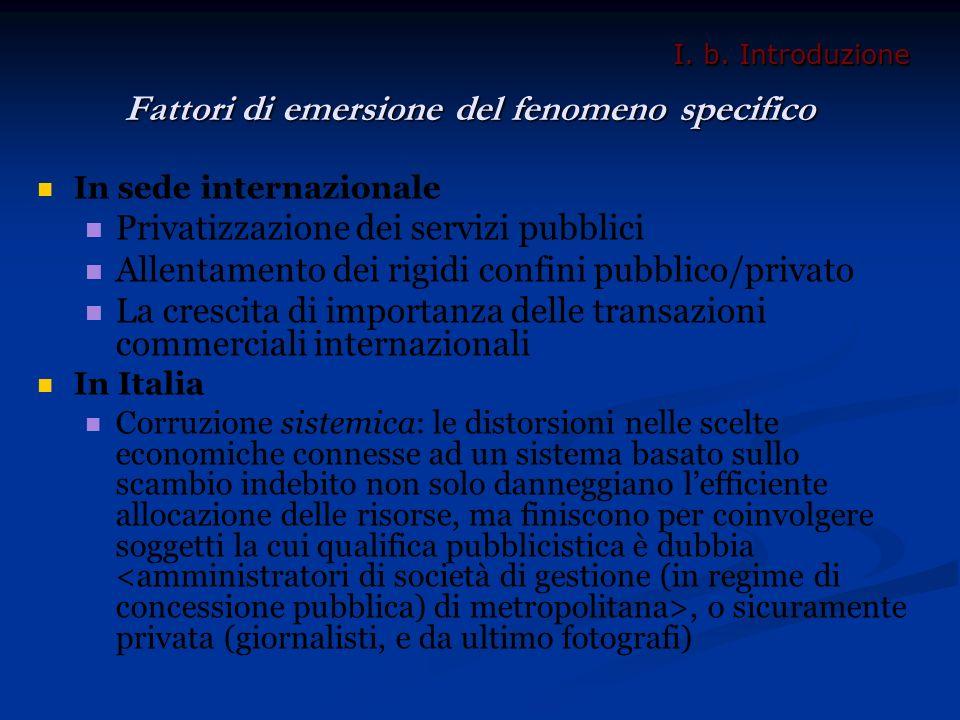 Fattori di emersione del fenomeno specifico In sede internazionale Privatizzazione dei servizi pubblici Allentamento dei rigidi confini pubblico/priva