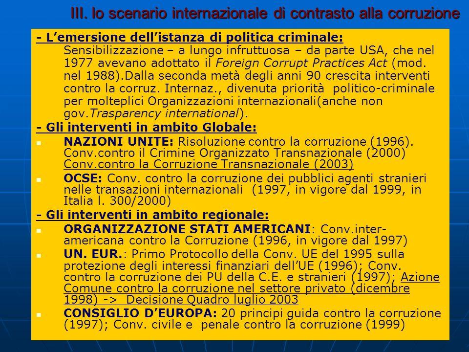 III. lo scenario internazionale di contrasto alla corruzione - Lemersione dellistanza di politica criminale: Sensibilizzazione – a lungo infruttuosa –