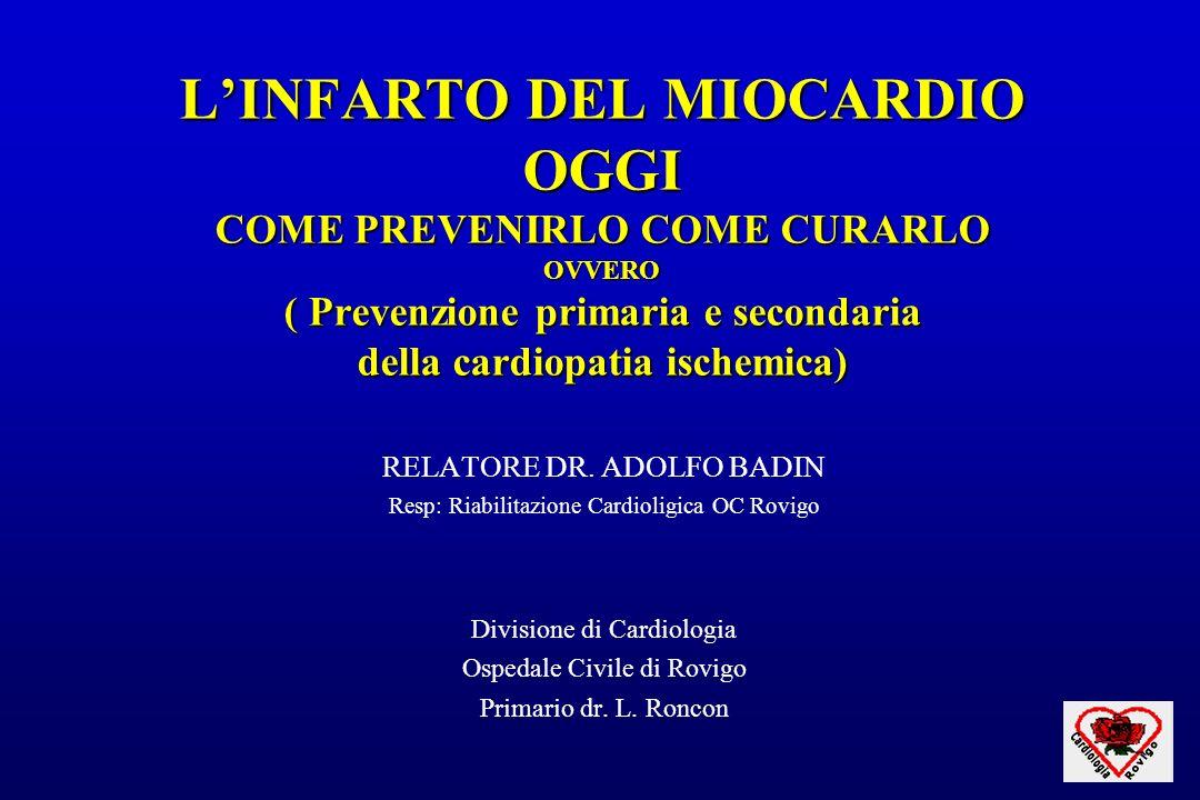 LINFARTO DEL MIOCARDIO OGGI COME PREVENIRLO COME CURARLO OVVERO ( Prevenzione primaria e secondaria della cardiopatia ischemica) RELATORE DR. ADOLFO B