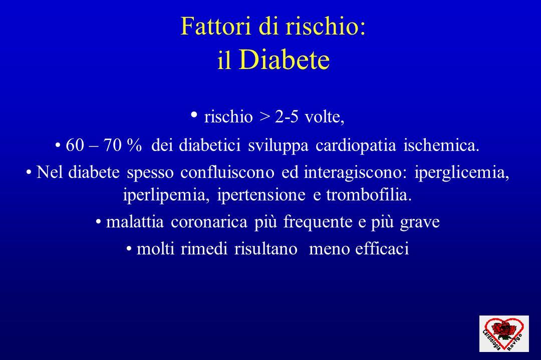 Fattori di rischio: il Diabete rischio > 2-5 volte, 60 – 70 % dei diabetici sviluppa cardiopatia ischemica. Nel diabete spesso confluiscono ed interag