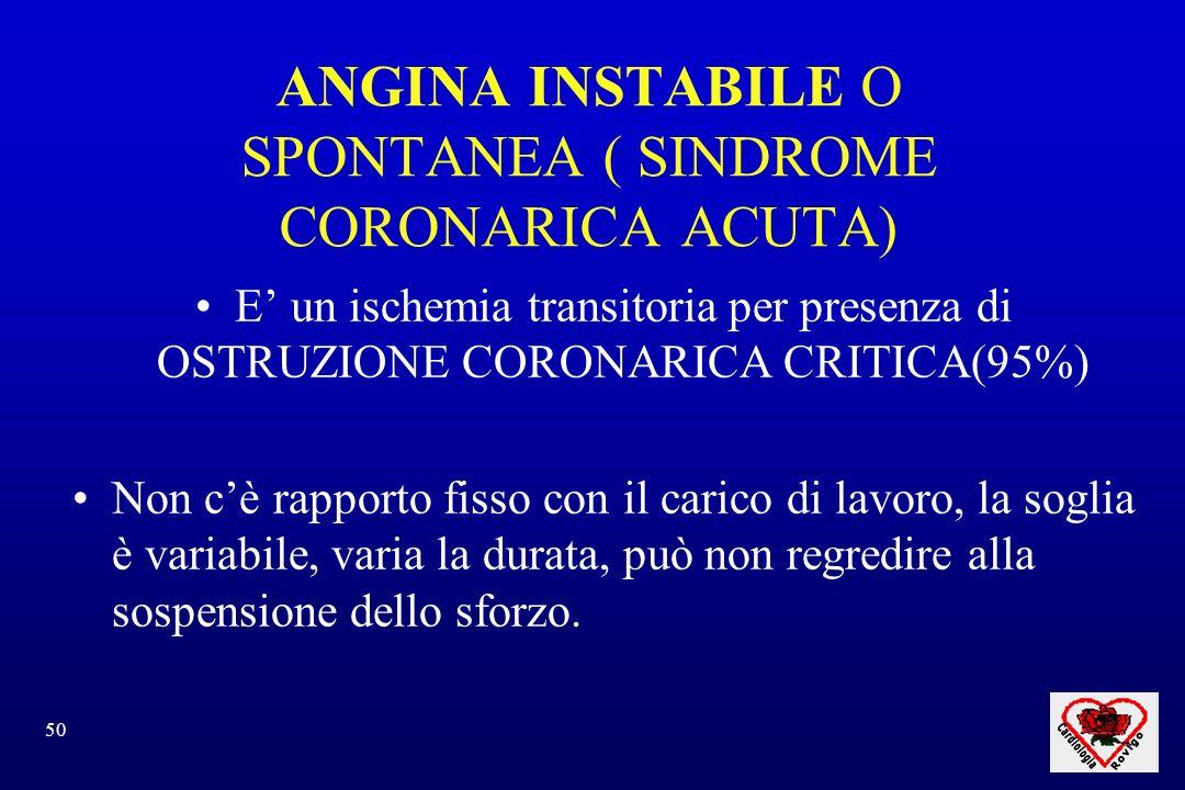 50 ANGINA INSTABILE O SPONTANEA ( SINDROME CORONARICA ACUTA) E un ischemia transitoria per presenza di OSTRUZIONE CORONARICA CRITICA(95%) Non cè rappo