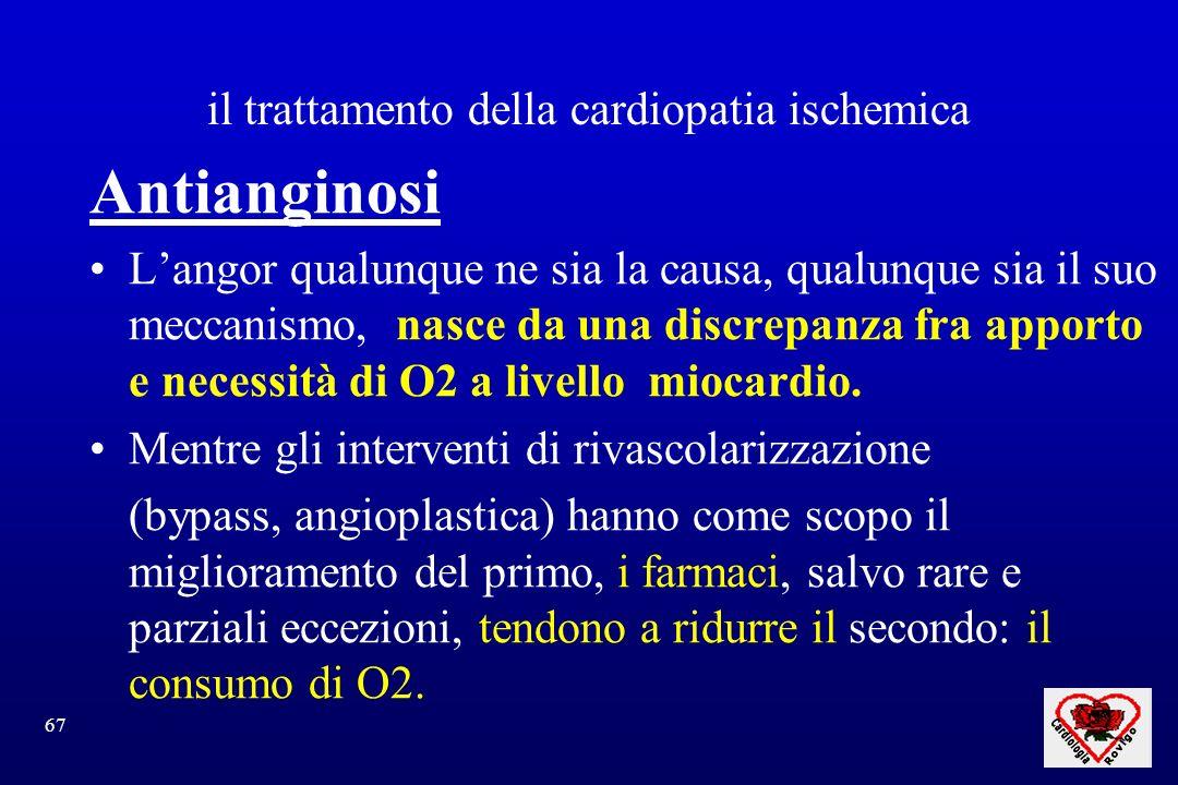 67 il trattamento della cardiopatia ischemica Antianginosi Langor qualunque ne sia la causa, qualunque sia il suo meccanismo, nasce da una discrepanza fra apporto e necessità di O2 a livello miocardio.