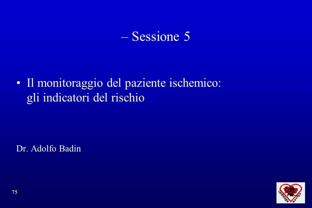 75 – Sessione 5 Il monitoraggio del paziente ischemico: gli indicatori del rischio Dr. Adolfo Badin