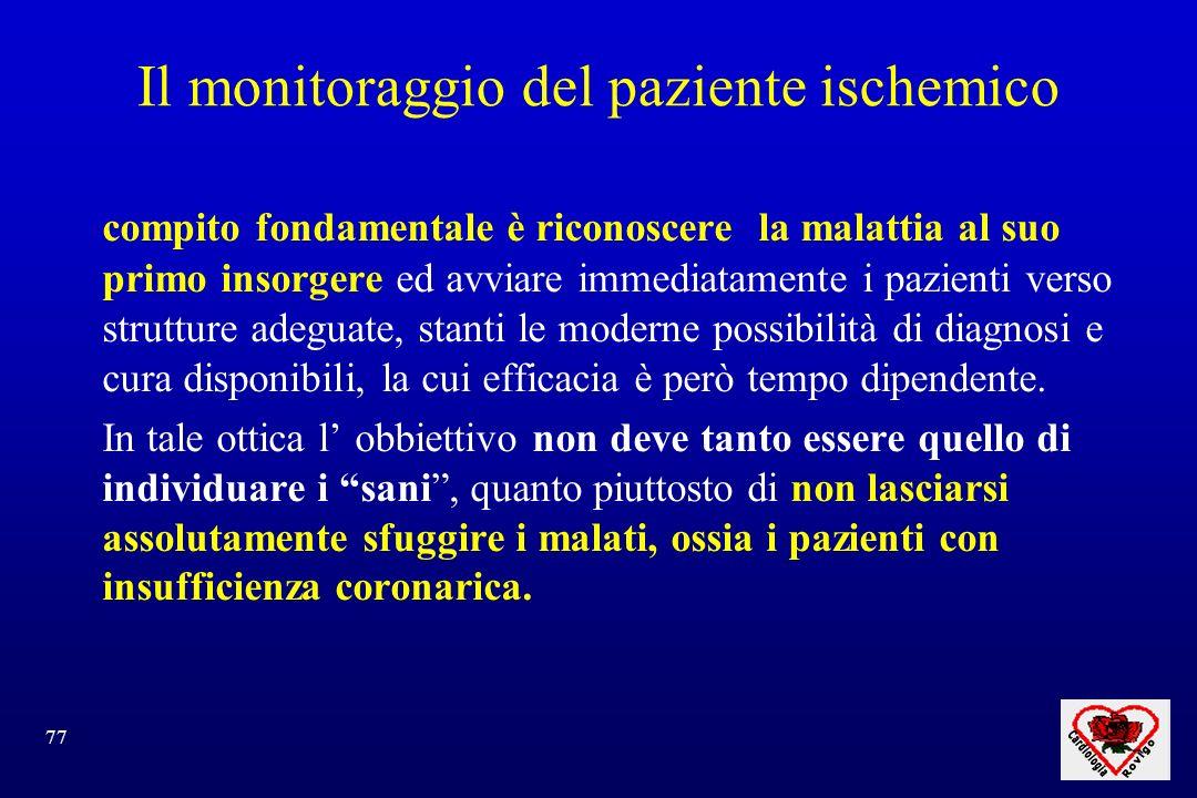 77 Il monitoraggio del paziente ischemico compito fondamentale è riconoscere la malattia al suo primo insorgere ed avviare immediatamente i pazienti v