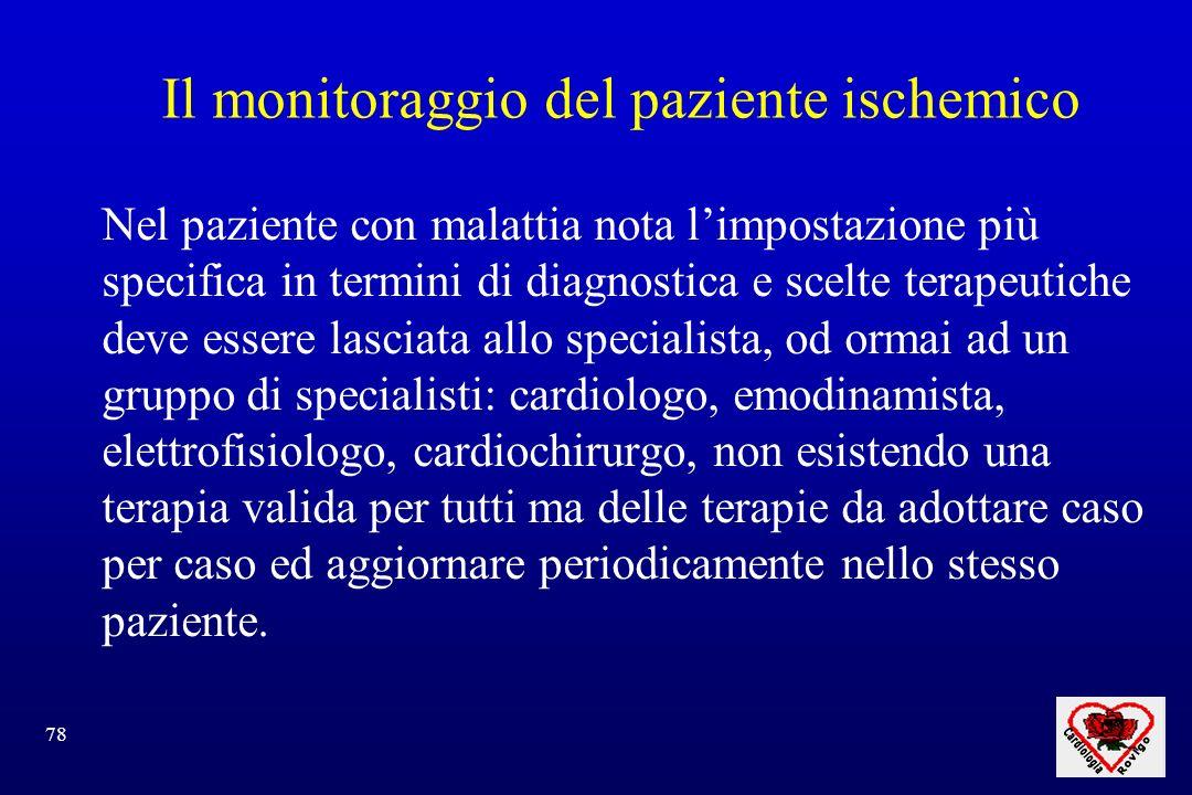 78 Il monitoraggio del paziente ischemico Nel paziente con malattia nota limpostazione più specifica in termini di diagnostica e scelte terapeutiche d