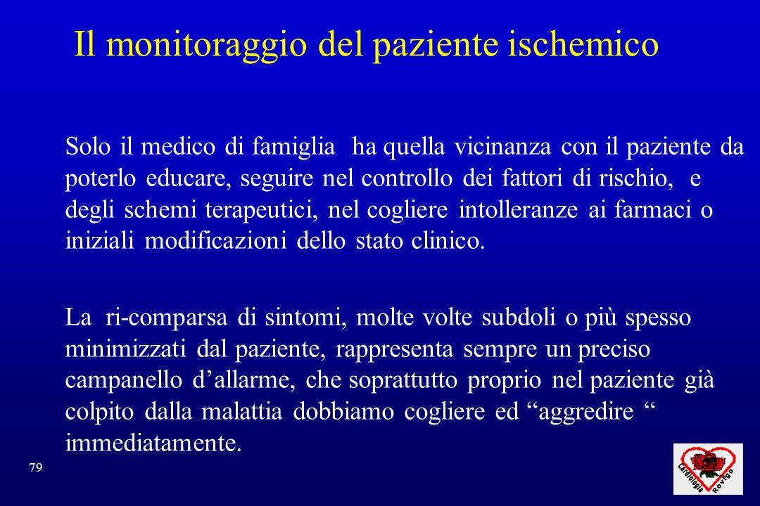 79 Il monitoraggio del paziente ischemico Solo il medico di famiglia ha quella vicinanza con il paziente da poterlo educare, seguire nel controllo dei