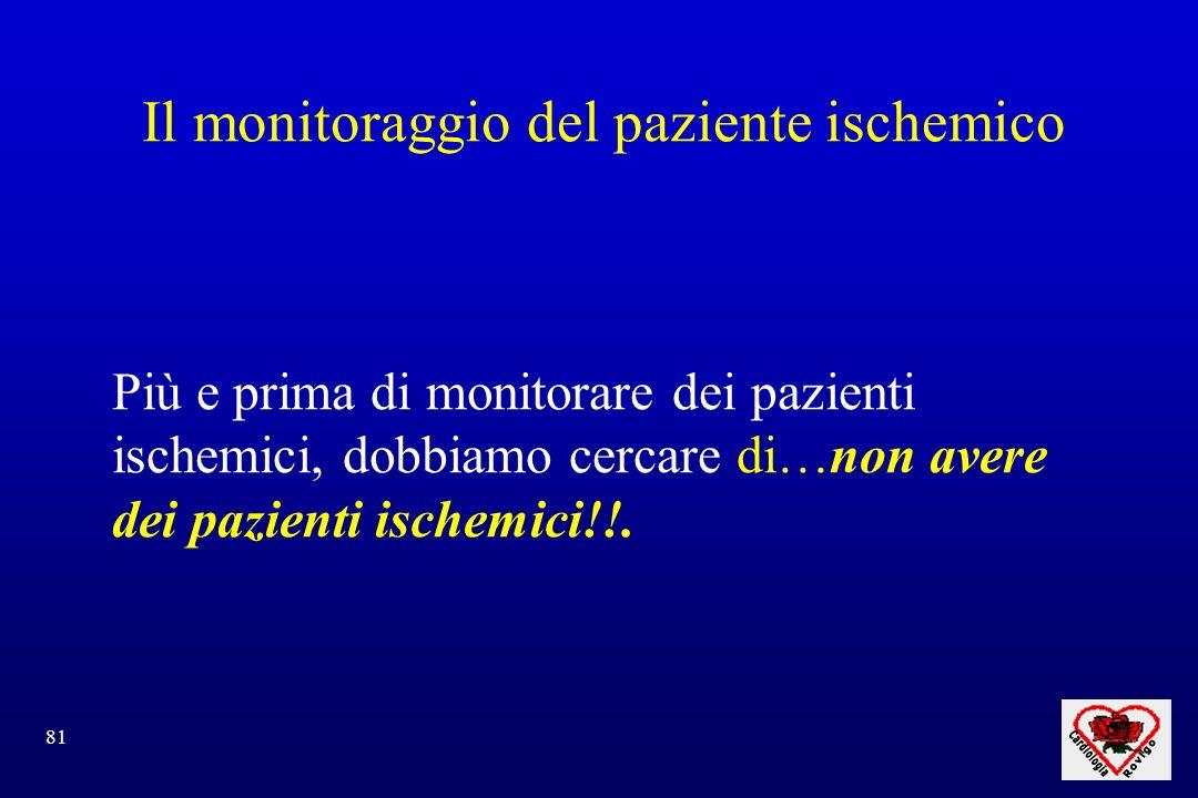 81 Il monitoraggio del paziente ischemico Più e prima di monitorare dei pazienti ischemici, dobbiamo cercare di…non avere dei pazienti ischemici!!.