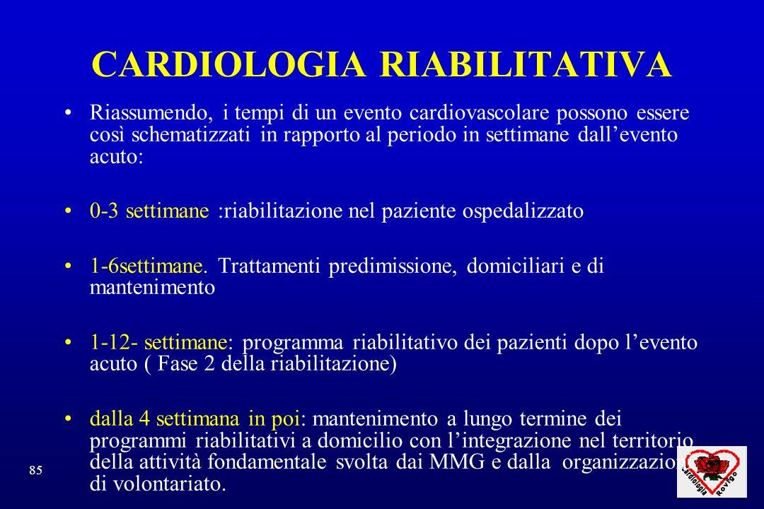 85 CARDIOLOGIA RIABILITATIVA Riassumendo, i tempi di un evento cardiovascolare possono essere così schematizzati in rapporto al periodo in settimane dallevento acuto: 0-3 settimane :riabilitazione nel paziente ospedalizzato 1-6settimane.