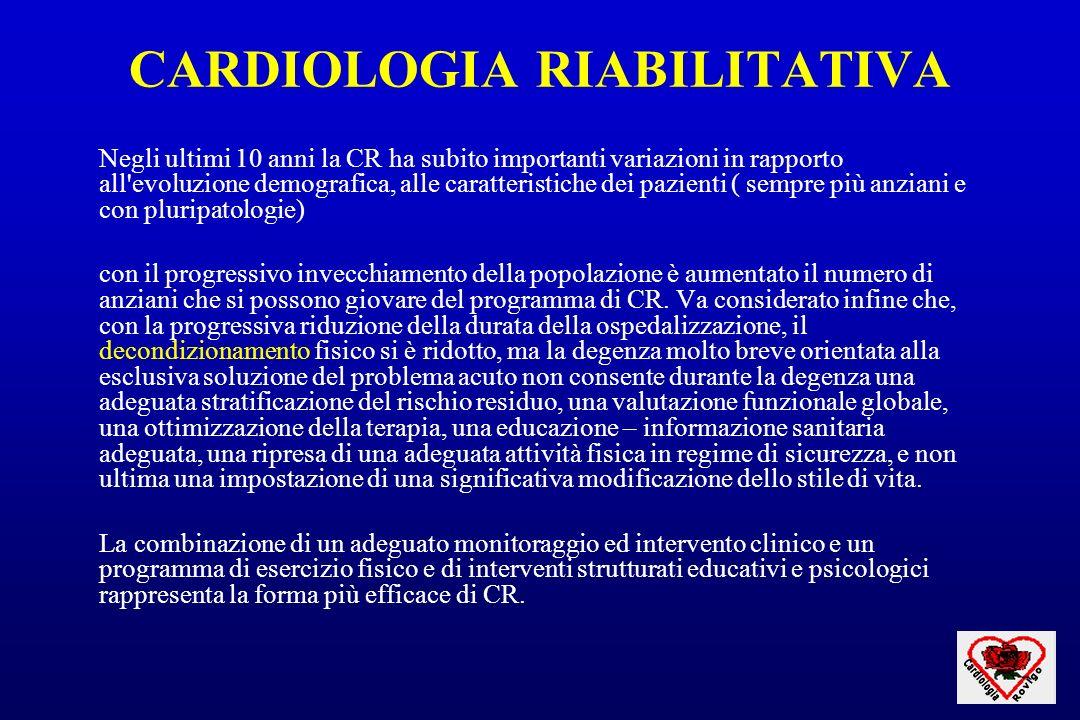 CARDIOLOGIA RIABILITATIVA Negli ultimi 10 anni la CR ha subito importanti variazioni in rapporto all'evoluzione demografica, alle caratteristiche dei
