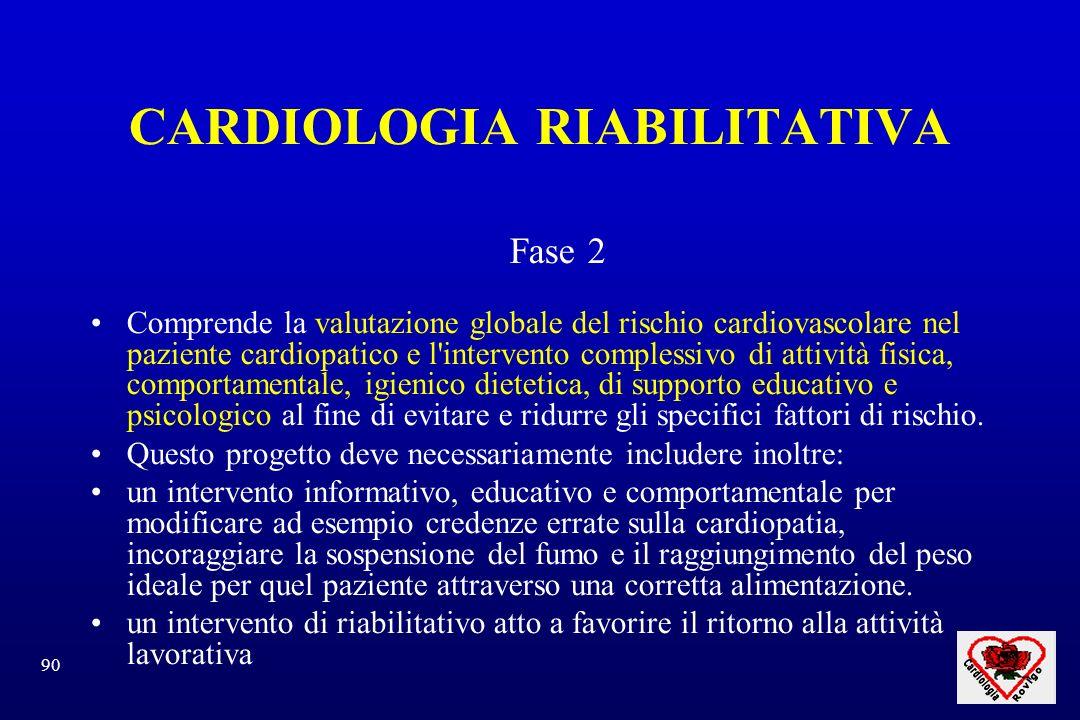 90 CARDIOLOGIA RIABILITATIVA Fase 2 Comprende la valutazione globale del rischio cardiovascolare nel paziente cardiopatico e l'intervento complessivo