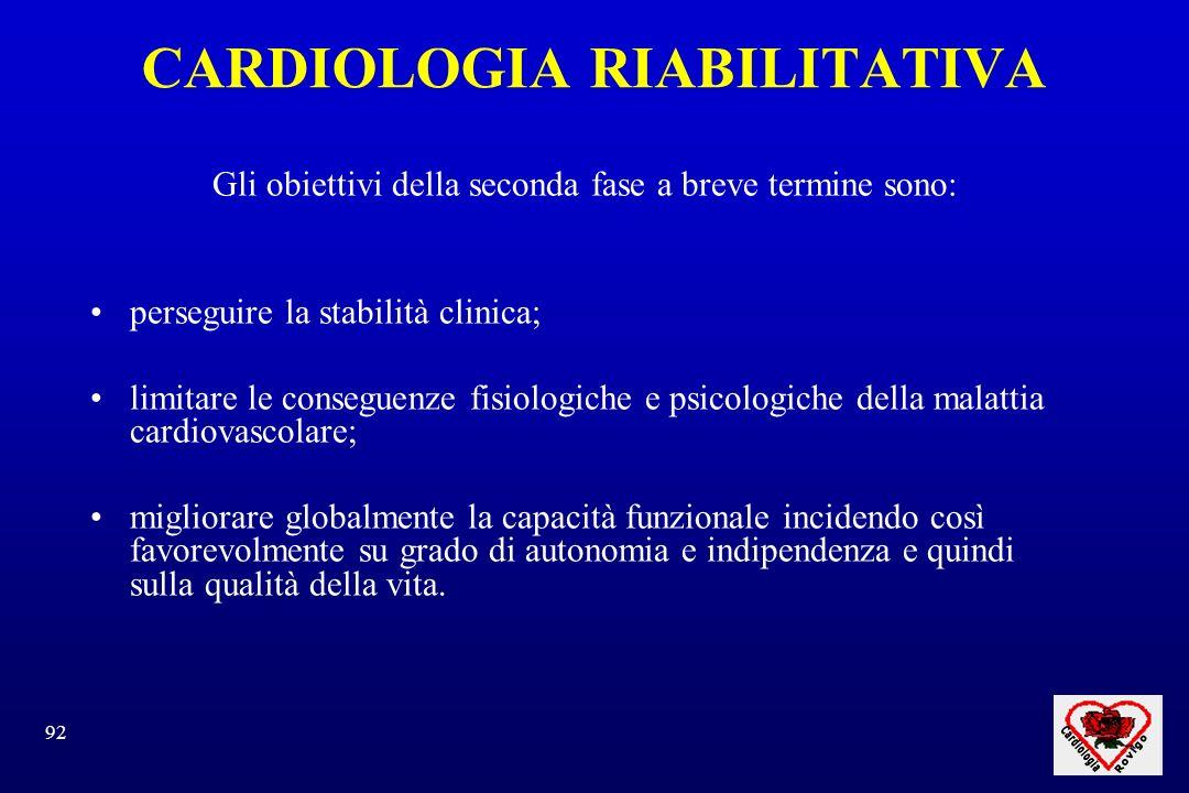 92 CARDIOLOGIA RIABILITATIVA Gli obiettivi della seconda fase a breve termine sono: perseguire la stabilità clinica; limitare le conseguenze fisiologi