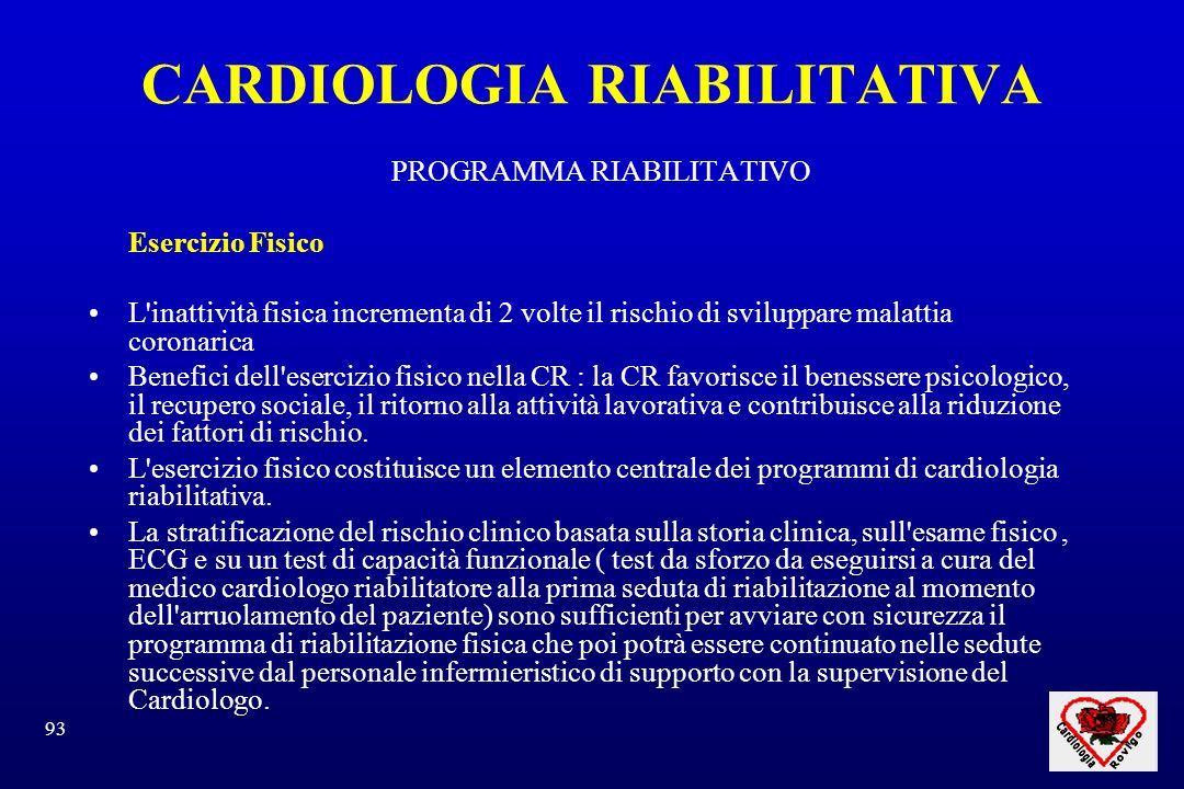93 CARDIOLOGIA RIABILITATIVA PROGRAMMA RIABILITATIVO Esercizio Fisico L'inattività fisica incrementa di 2 volte il rischio di sviluppare malattia coro