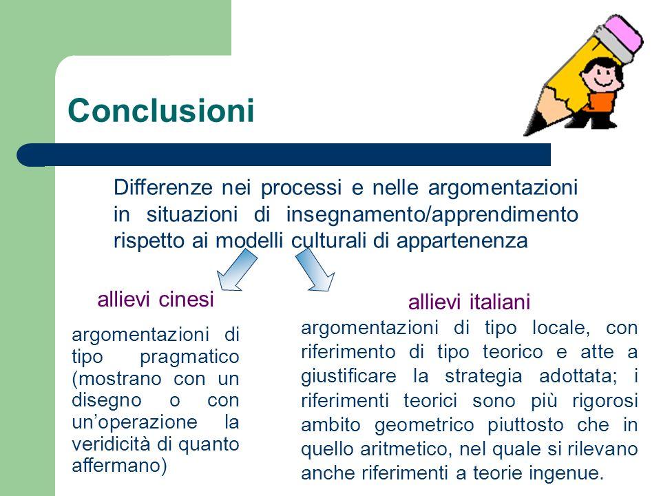 Conclusioni allievi italiani argomentazioni di tipo locale, con riferimento di tipo teorico e atte a giustificare la strategia adottata; i riferimenti teorici sono più rigorosi ambito geometrico piuttosto che in quello aritmetico, nel quale si rilevano anche riferimenti a teorie ingenue.