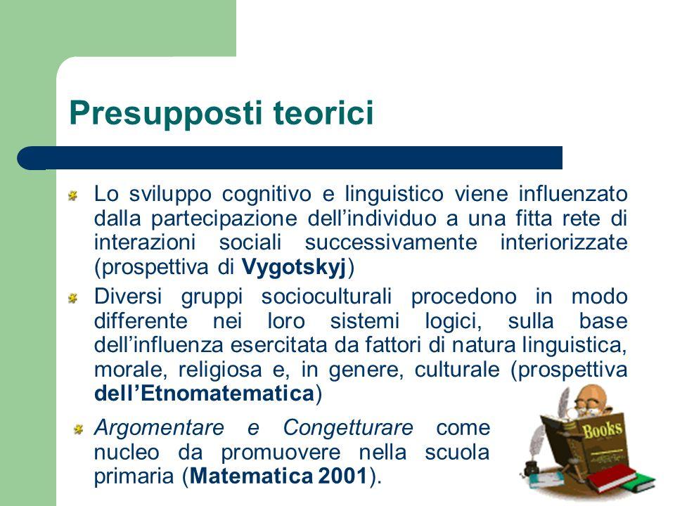 Presupposti teorici Lo sviluppo cognitivo e linguistico viene influenzato dalla partecipazione dellindividuo a una fitta rete di interazioni sociali s