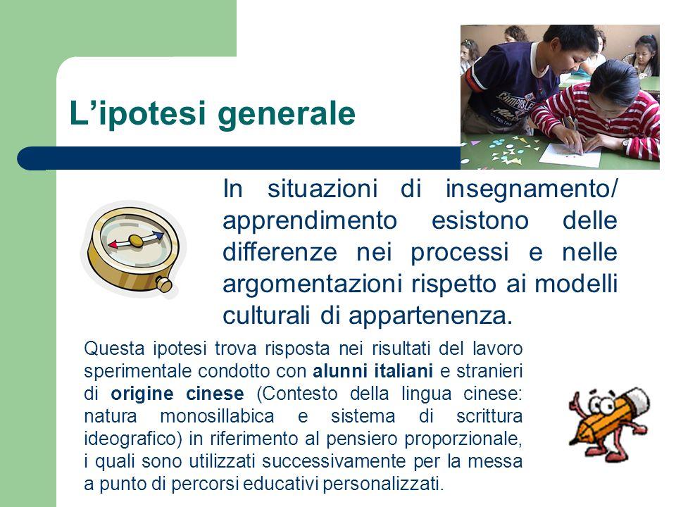 Lipotesi generale Questa ipotesi trova risposta nei risultati del lavoro sperimentale condotto con alunni italiani e stranieri di origine cinese (Cont